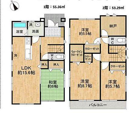 戸建賃貸-豊田市花園町塩倉 LDK+4部屋+納戸の間取りです。
