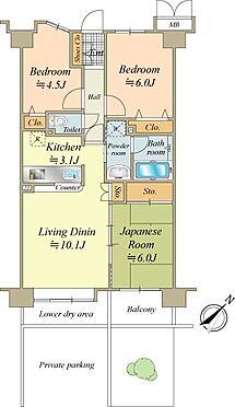 中古マンション-中央区月島4丁目 63.24m2の3LDK。専用駐車場付