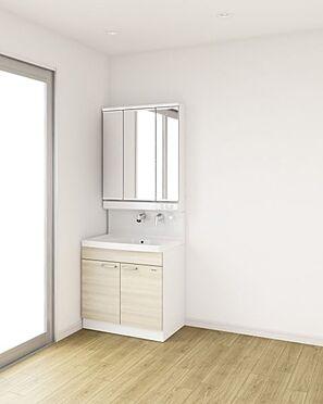 新築一戸建て-大野城市仲畑3丁目 水ハネを防止する一体型のカウンター。散らかりがちな洗面台もすっきりと収納できるスペースがあります。