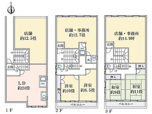 店舗付住宅(建物全部)-堺市東区丈六 間取り
