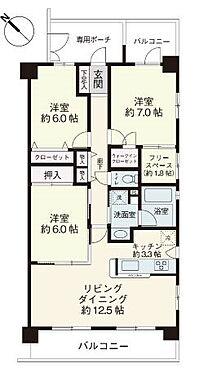 中古マンション-浦安市富士見5丁目 2面バルコニー、専用ポーチ付きの3LDKです