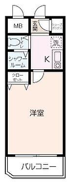 中古マンション-横浜市磯子区杉田4丁目 投資物件におすすめの1Kタイプの間取り。