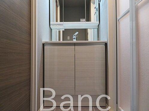 中古マンション-渋谷区代々木4丁目 使い勝手のいい洗面台です。照明、コンセントもついています。