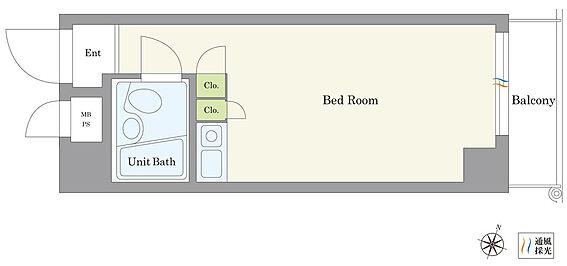 マンション(建物一部)-横浜市南区井土ケ谷下町 東向きの住戸です。クローゼット2つ付きですっきりと収納できます。