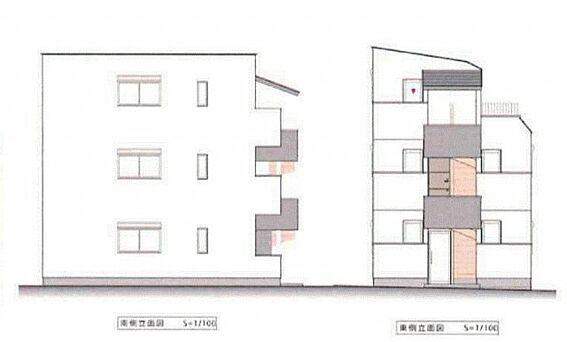 アパート-新宿区戸山1丁目 立面図