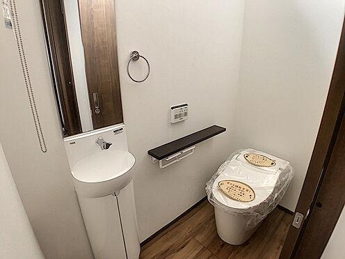 戸建賃貸-小牧市堀の内4丁目 手洗い場と鏡のある豪華な1階トイレ