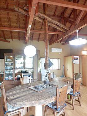 中古一戸建て-伊東市富戸 リビングダイニング  山荘風の屋根組を見せた天井です。
