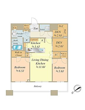 中古マンション-中央区勝どき5丁目 73.79m2・2LDK、北西向き住戸につき通風・眺望良好