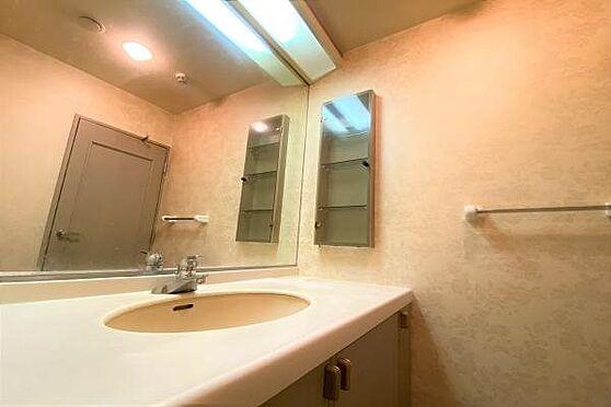 リゾートマンション-熱海市上多賀 洗面台:洗面台:豊富な収納スペースと大きな鏡が印象的な独立洗面台。