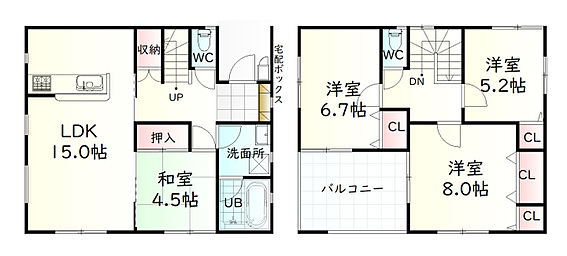 新築一戸建て-東松島市あおい1丁目 間取り