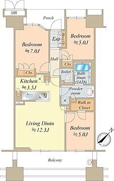中古マンション-中央区晴海5丁目 20階建最上階、72.37平米のゆったりとした3LDKです。