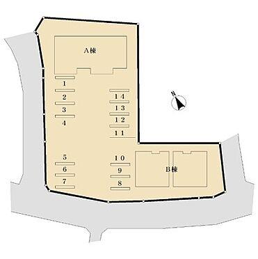 アパート-つくば市下広岡 建物・駐車場配置図