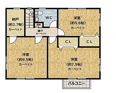 中古一戸建て-豊田市五ケ丘7丁目 2階間取り図