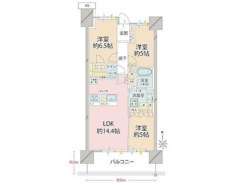 中古マンション-品川区勝島1丁目 リビング続きの洋室の引戸を開放して約19.4帖のLDKとしてもご利用いただけます。