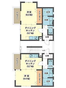 アパート-東大阪市小若江1丁目 1フロア2邸、空間を有効活用した1DKプラン。