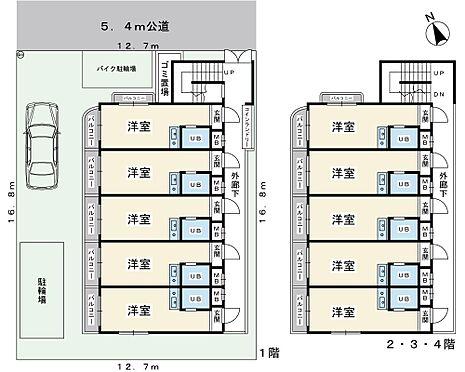 アパート-浦安市富士見2丁目 1Rx20室。駐車場1台。1991年1月築。RC造4階建てマンション。