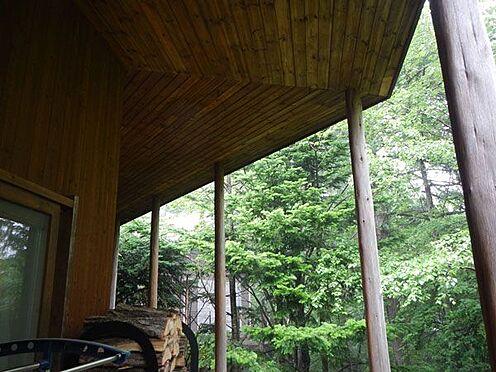 戸建賃貸-北佐久郡軽井沢町大字軽井沢 ウッドデッキは大きな屋根がついています。雨の日でも安心ですね。