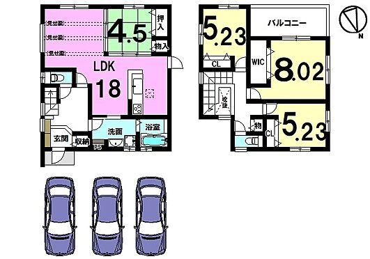 戸建賃貸-橿原市膳夫町 1階は和室を合わせて22.5帖の大きなお部屋です。キッチン・洗面等を一か所に集めた便利な間取り。並列で3台駐車可能です。
