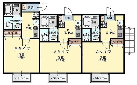 アパート-鎌ケ谷市南鎌ケ谷1丁目 間取図(1階・2階)
