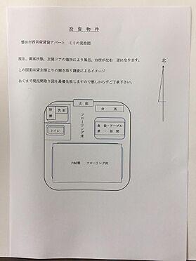 アパート-磐田市西貝塚 間取りは部屋ドアの設置場所により台所と風呂場が逆になります。