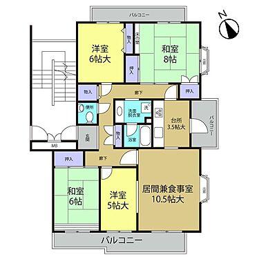中古マンション-多摩市豊ヶ丘2丁目 2階部分の東南角部屋!3面バルコニーで風通しも良いお部屋です!