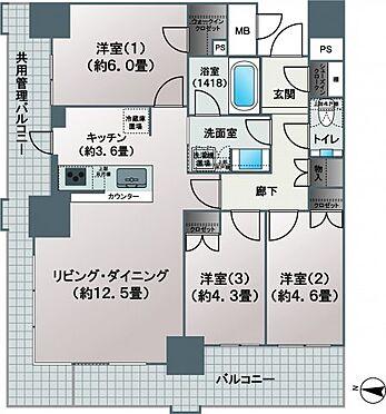 新築マンション-大阪市北区豊崎3丁目 【間取り】各居室窓があり、通風良好です♪また、シューズインクロークやウォークインクロゼットなど収納スペースも充実◎