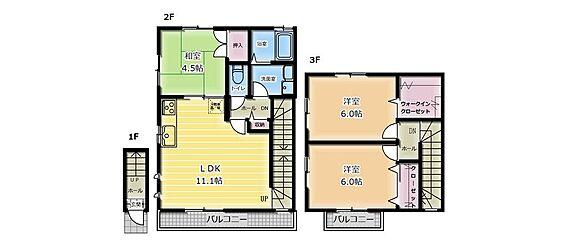 アパート-流山市おおたかの森北1丁目 3LDKの間取図です。
