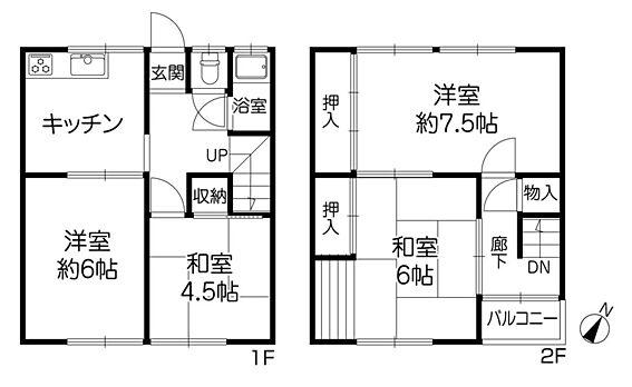 建物一部その他-川西市美園町 間取り4DK、1階33.09平米、2階33.09平米 合計66.18平米