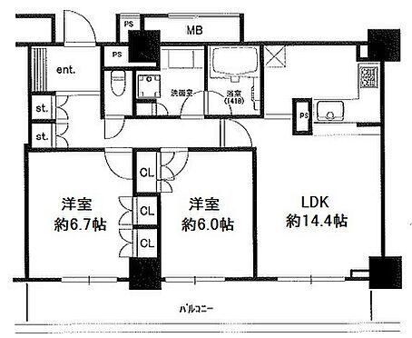 マンション(建物一部)-中央区佃2丁目 間取り