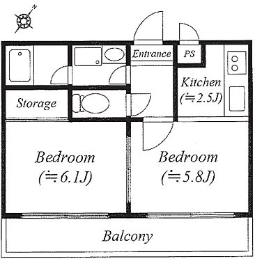 マンション(建物一部)-横浜市磯子区磯子2丁目 2K 専有面積:34.24平米