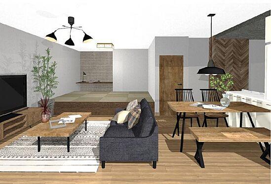 中古マンション-名古屋市守山区城土町 【リノベーションプラン400万円プラン】和室を畳が丘にすることで、リビングがより広く感じられます。
