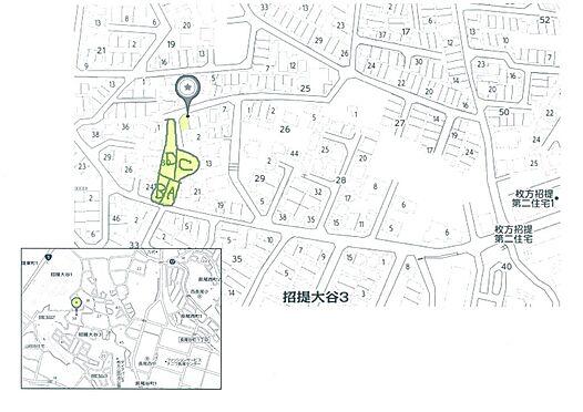 土地-枚方市招提大谷3丁目 現地へのMAP「3丁目30番街区」