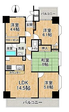 区分マンション-名古屋市中川区東起町5丁目 専有面積76平米の4LDK広々とした間取り♪角部屋のため陽当たり風通し良好です。