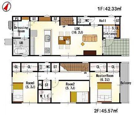 戸建賃貸-名古屋市千種区南ケ丘1丁目 <1号棟>間取りは生活のしやすさを重視。家族みんなが気持ちよく過ごすための構造と使いやすい間取りを実現。