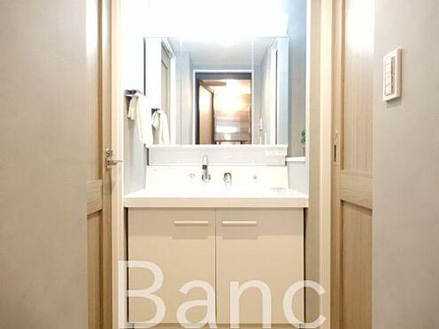 中古マンション-世田谷区若林4丁目 使い勝手のいい洗面台です、照明、コンセントもついています。