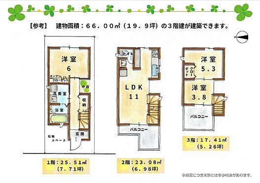 土地-京都市伏見区深草下横縄町 (参考)3階建ての延床面積66.00m2(19.9坪)の家が建てられます。