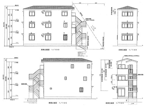 アパート-新宿区西早稲田1丁目 立面図