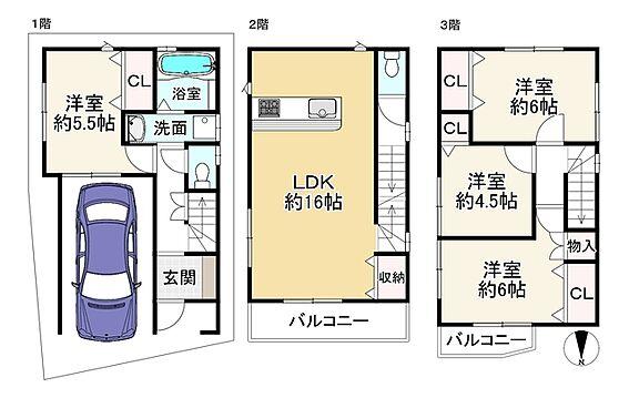新築一戸建て-大阪市平野区背戸口3丁目 間取り