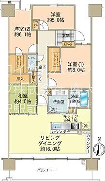 中古マンション-八王子市鑓水2丁目 7階部分約100m2の4LDKタイプです
