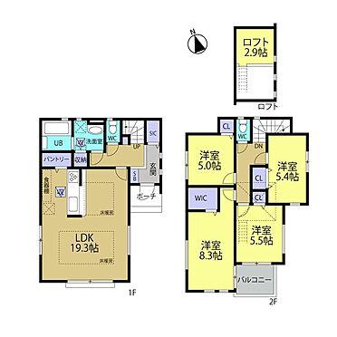新築一戸建て-町田市金井7丁目 リビング、主寝室を広く確保した間取り構成!2階居室にロフトも備わっています。