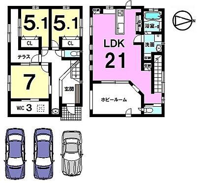 中古一戸建て-大和高田市三和町 21帖の大きなLDKが自慢のおうち。全室に収納スペースを確保致しました。キッチンや洗面等の水まわり設備を一か所に集めた便利な配置。並列で3台駐車可能です。