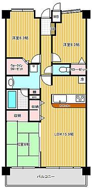 マンション(建物一部)-越谷市千間台西1丁目 暮らしやすい3LDKタイプです。南向きで陽当り良好です。