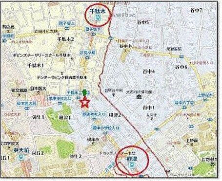 店舗(建物一部)-文京区根津2丁目 地図