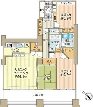 中古マンション-八王子市別所1丁目 約10.4mを超えるワイドスパンで南面3室の採光がとれています。