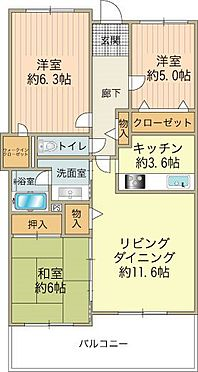 中古マンション-八王子市北野町 3LDK/専有面積75.10m2・バルコニー10.89m2