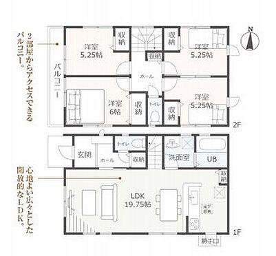 戸建賃貸-長久手市岩作平子 2号棟間取り 憧れのリビング階段採用。家族が帰宅時に顏を合わせられます!