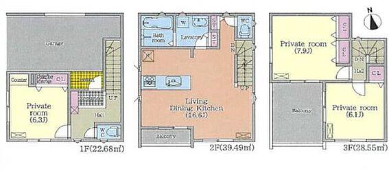 新築一戸建て-名古屋市千種区大久手町6丁目 車庫付き!リビング階段も魅力の間取りです!