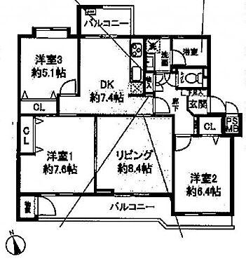 中古マンション-川崎市多摩区枡形1丁目 間取り