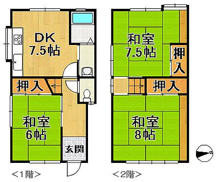 中古テラスハウス-神戸市垂水区上高丸3丁目 間取り
