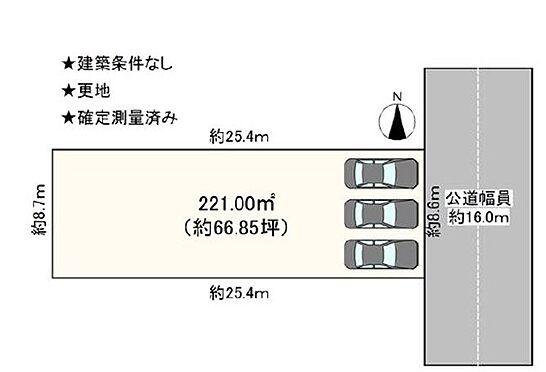 土地-豊田市高上1丁目 車は並列3台でお停めいただけます!整形地で建築プランも立てやすいですね♪